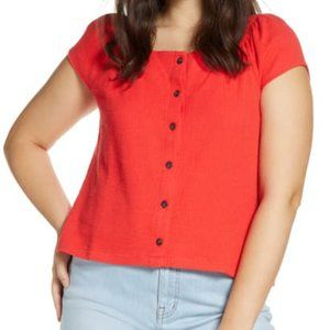 Madewell Texture & Thread Button Front Top Red S